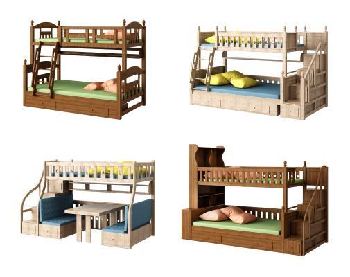 儿童上下双层床组合3D模型【ID:843845861】