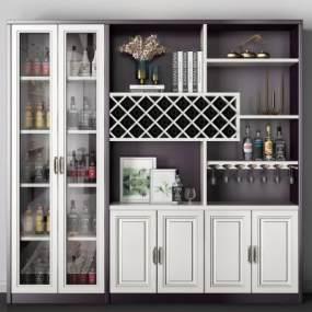 现代酒柜3D模型【ID:648343225】
