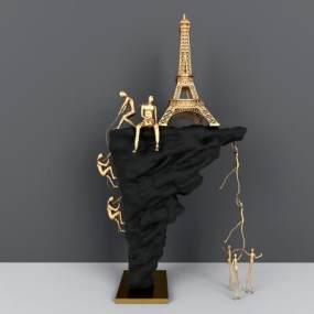 现代攀登者雕塑摆件 3D模型【ID:242336556】