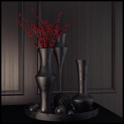 现代灰色调花瓶国外3D模型【ID:230958805】