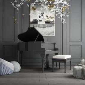 现代钢琴房乐器 3D模型【ID:540817907】