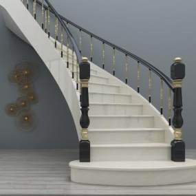 欧式旋转楼梯3D模型【ID:332888531】