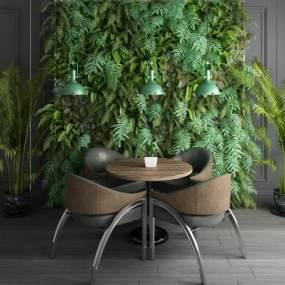 现代植物墙工业风桌椅吊灯植物盆栽组合 3D模型【ID:640845219】