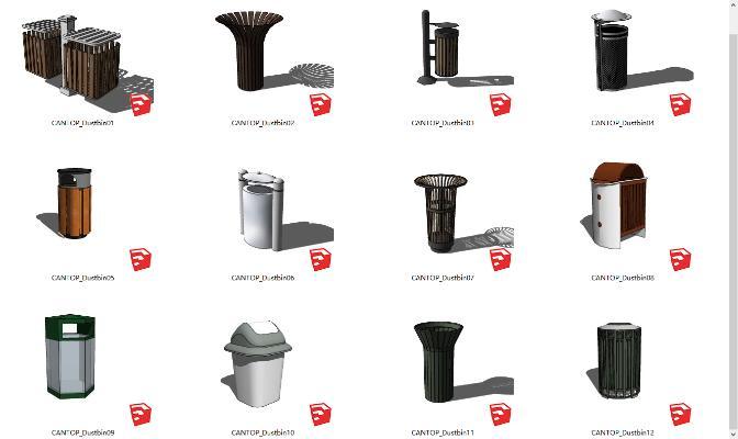 現代垃圾桶合集SU模型【ID:352132067】