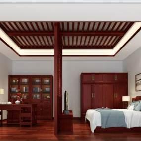 中式卧室3D模型【ID:544697234】
