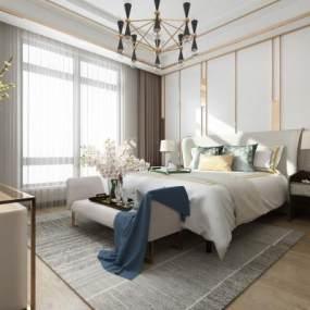 现代卧室3D模型【ID:534705235】