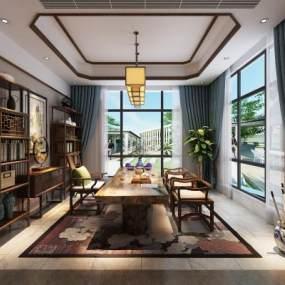 新中式茶室3D模型【ID:651620112】
