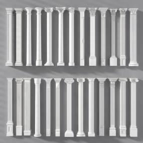 歐式石膏羅馬柱子柱頭組合 3D模型【ID:341565442】