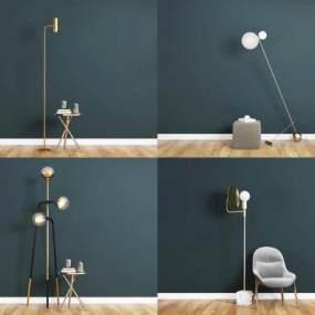 现代金属落地灯单椅休闲椅茶几组合3D模型【ID:835963219】