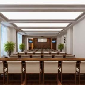 现代简约多媒体会议室功能室3D模型【ID:953533144】