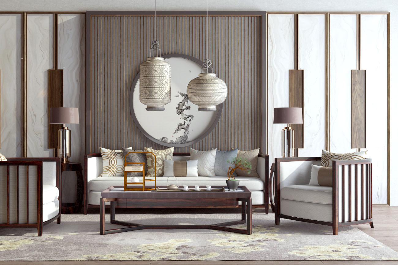新中式沙发茶几组合SU模型【ID:453959193】