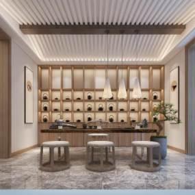 新中式茶室3D模型【ID:646341164】