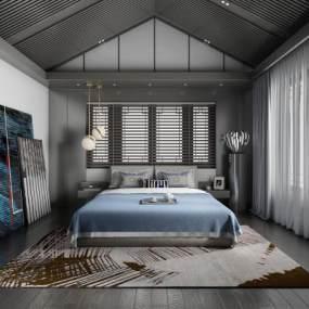 現代臥室3D模型【ID:544002216】