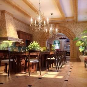 美式简约餐厅3D模型【ID:534511180】