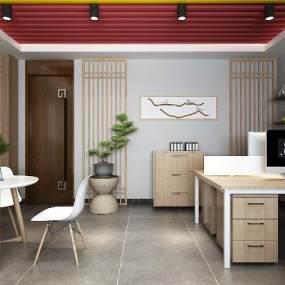 新中式辦公室3D模型【ID:943671038】