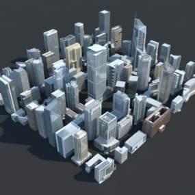 现代城市配楼组合3D模型【ID:149142673】