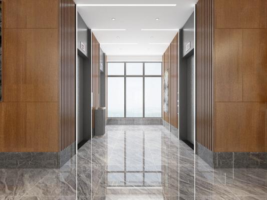 电梯厅3D模型【ID:743772684】