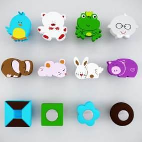 现代儿童柜门把手拉手3D模型【ID:334749373】