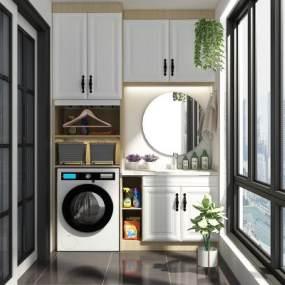 現代簡約洗衣機陽臺柜3D模型【ID:546942696】