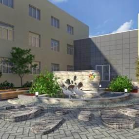 現代校園小景觀3D模型【ID:134512459】