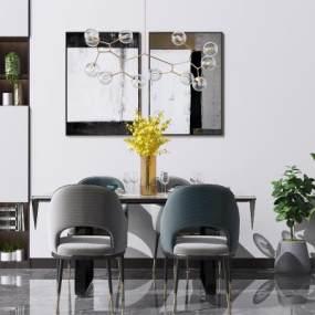 現代輕奢餐桌椅組合3D模型【ID:848853883】