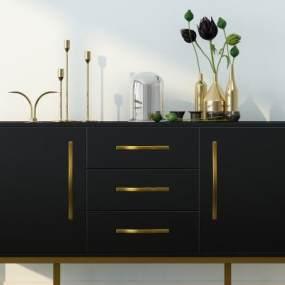 现代轻奢金属边柜装饰品组合3D模型【ID:136091029】