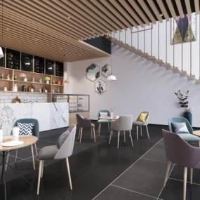 现代咖啡厅3D模型【ID:635742311】