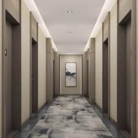 新中式走廊3D模型【ID:749407453】