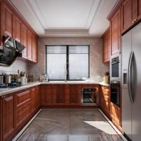美式厨房3D模型【ID:547198363】