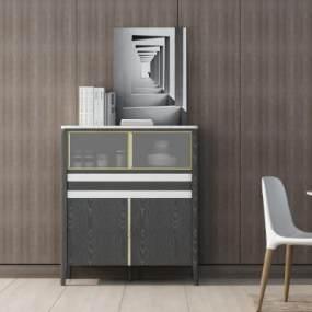 現代簡約裝飾邊柜3D模型【ID:146890162】
