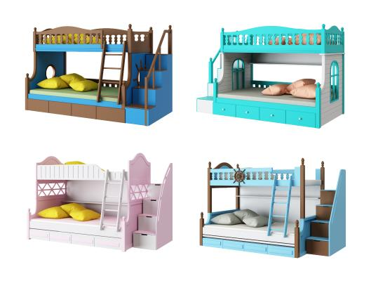 儿童上下双层床组合3D模型【ID:843845867】