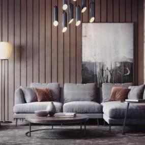 现代沙发茶几组合3D模型【ID:630442776】