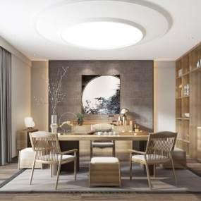 新中式茶室3D模型【ID:540944440】