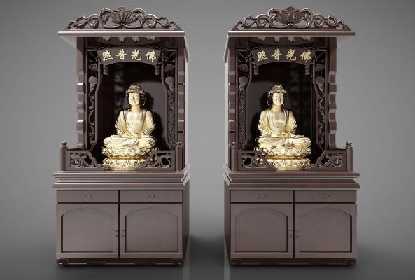 新中式风格装饰柜3D模型【ID:144700187】