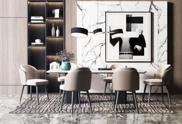 現代輕奢餐桌椅吊燈組合3D模型【ID:741876150】