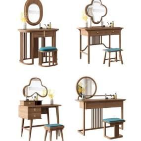 新中式梳妆台化妆桌椅矮凳组合3D模型【ID:943875472】