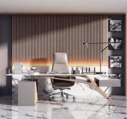 现代办公桌3D模型【ID:952822199】