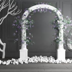 现代婚礼花圈花环干枝吊椅组合3D模型【ID:243331500】