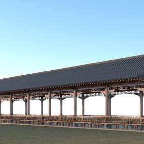 中式長廊3D模型【ID:152578457】