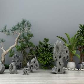新中式假山石头盆栽盆景松树摆件组合3D模型【ID:135838495】