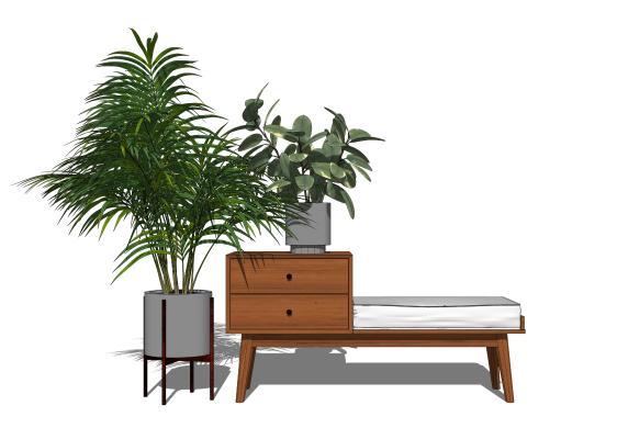 現代植物盆栽換鞋凳組合SU模型【ID:151429800】