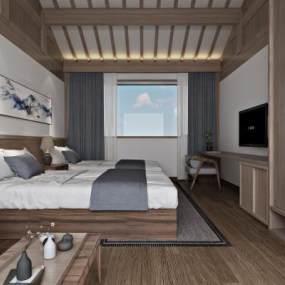 新中式简约民宿客房3D模型【ID:745430339】