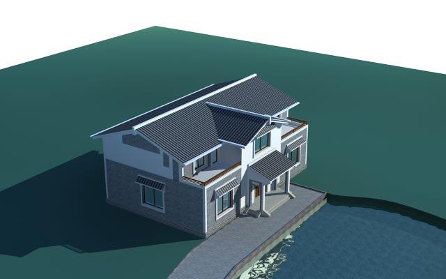 新中式别墅二层楼3D模型【ID:132655342】