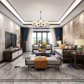 新中式客厅3D模型【ID:542709024】