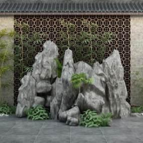 新中式假山3D模型【ID:153382485】