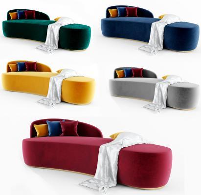 現代弧形休閑沙發3D模型【ID:642717690】