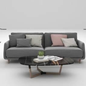 现代布艺沙发茶几组合3D模型【ID:644504768】