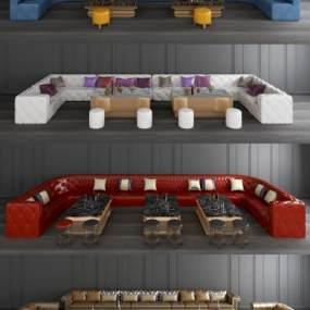 欧式KTV沙发茶几组合3D模型【ID:643378716】