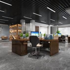 现代开放式办公室3D模型【ID:947340044】