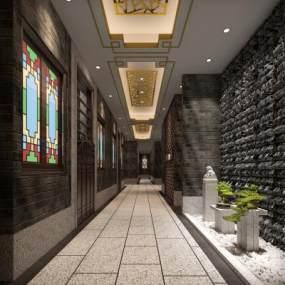 新中式水疗走廊3D模型【ID:843569271】